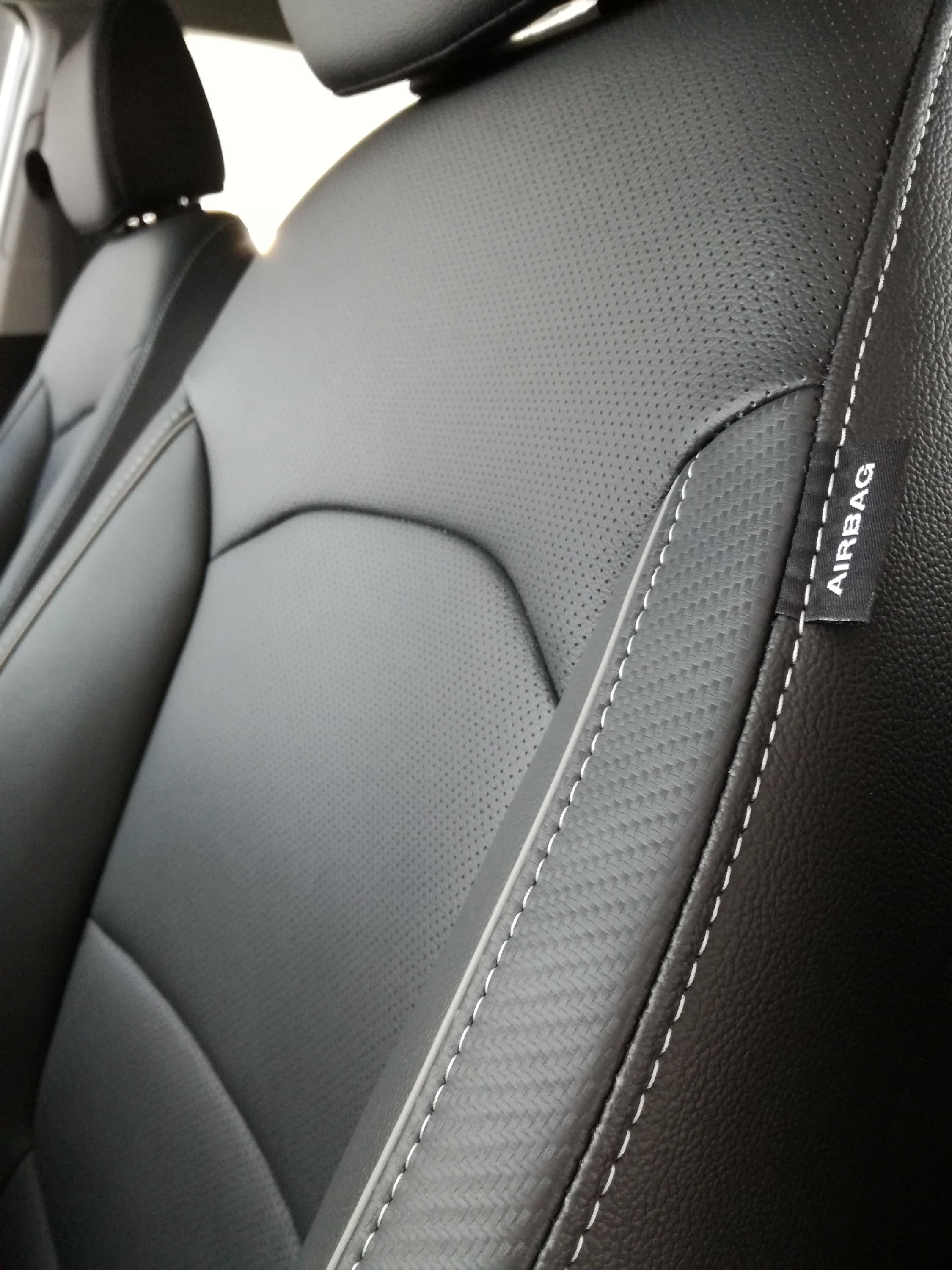 Black Leather upholstery.
