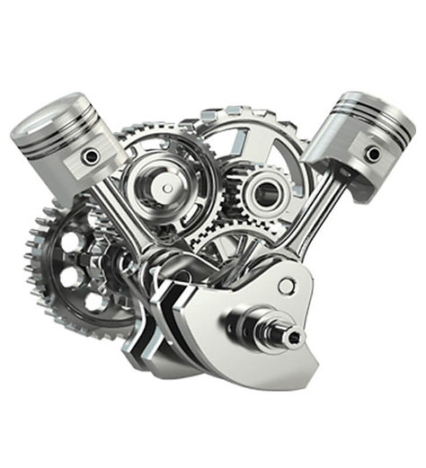 Engine inner workings icluding pistons, cogs an gears.