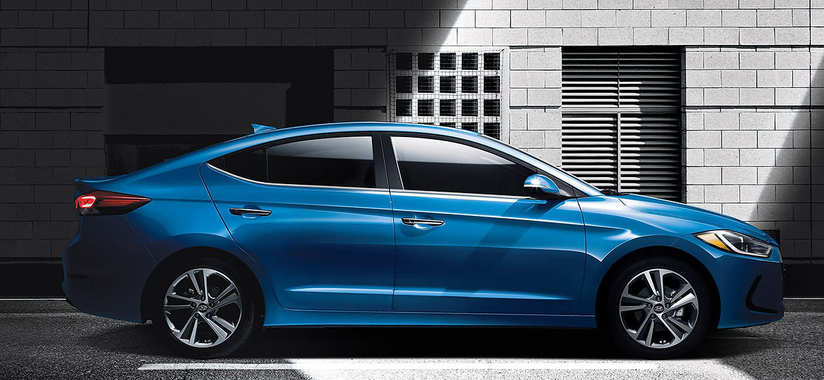 brand new hyundai elantra elite in blue standing still
