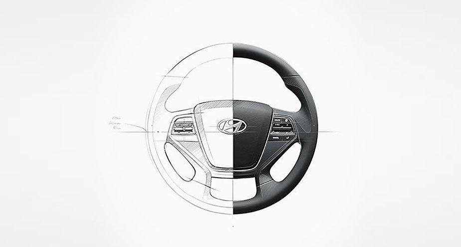 Hyundai steering wheel sketch.