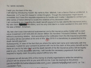 Life Insurance Policy Scam
