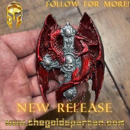 Dragon Skull Cross Enameled