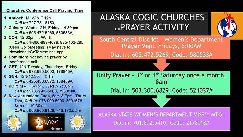 PRAYER ACTIVITY FOR ALASKA COGIC CHURCHE