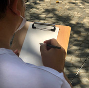 sketching with pencil first - he opts for the H one