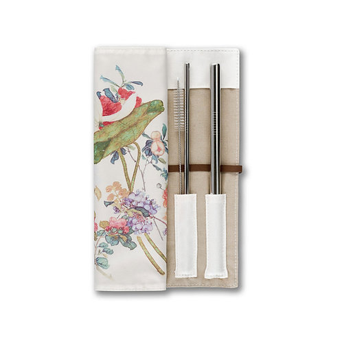 居廉 -《百花圖》午餐墊飲管套裝  A Hundred Flowers Travel Roll with Drinking Straw