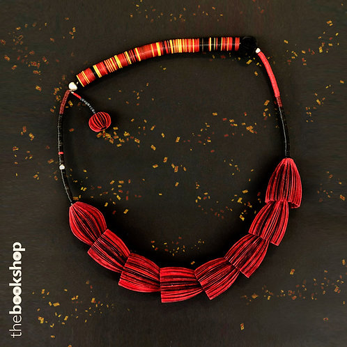 RED and BLACK NECKPIECE - one-of-a-kind paper jewellery by Janet Mark
