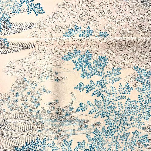Blue Landscape Vintage Silk Kimono Scarf - Miranda Tsui