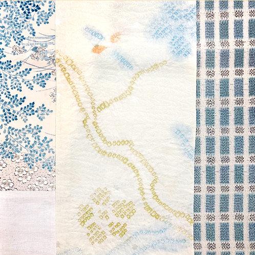Blue Landscape Shibori Vintage Silk Kimono Scarf - Miranda Tsui