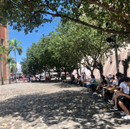 Today's subject is the clock tower, participants get to enjoy the shade while working on their sketching