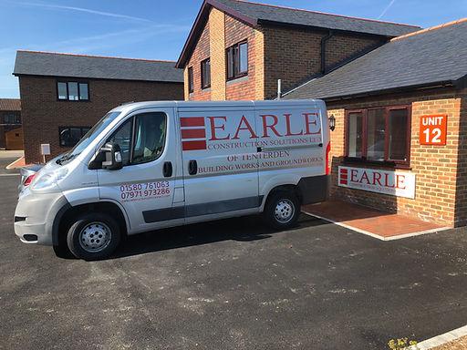 van, earle construction solutions, ashford kent, builders, groundowrks, logo, offie, douglas earle
