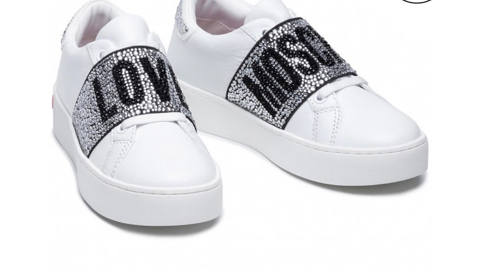 SNEAKERS IN VITELLO CRYSTAL BAND LOVE MOSCHINO