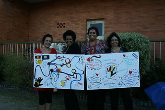 Workshop participants presenting painting.