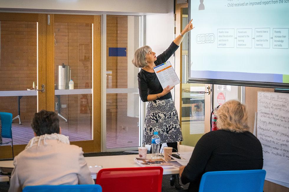 Samatha Abbato presenting at a workshop.