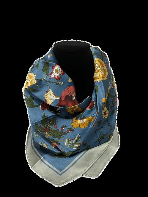 Elegant Blue Tulip Print Satin Scarf/Wrap