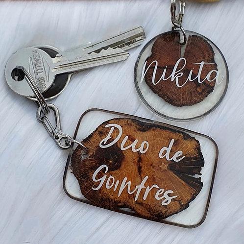 Porte clés résine/bois