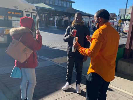 Boston City Council At-Large Candidate Said Abdikarim talks to young Bostonians.