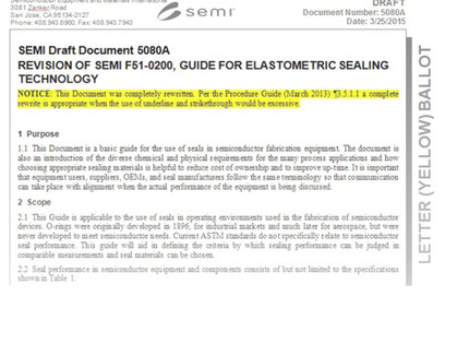 Standards for Semiconductor Sealing Components