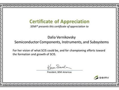Dalia Vernikovsky is awarded the SEMI Above and Beyond Award
