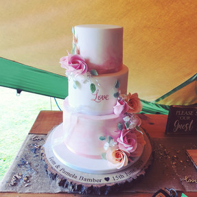 Water colour wedding cake