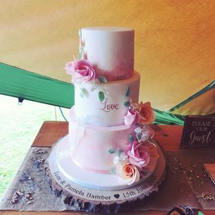 Water colour wedding cake