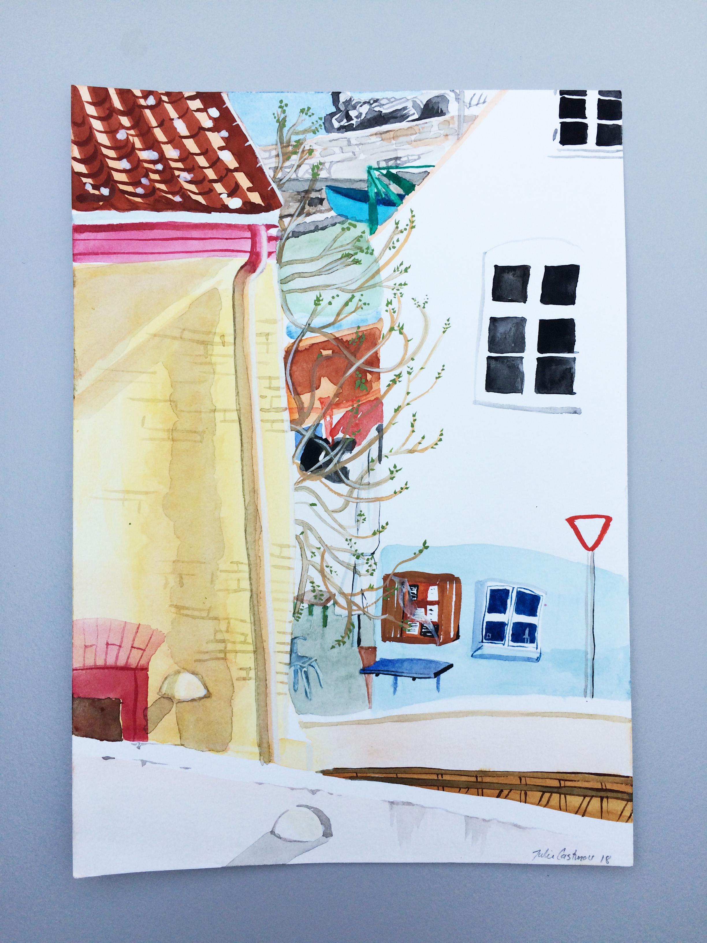 Provianten Gudhjem, A5 akvarel