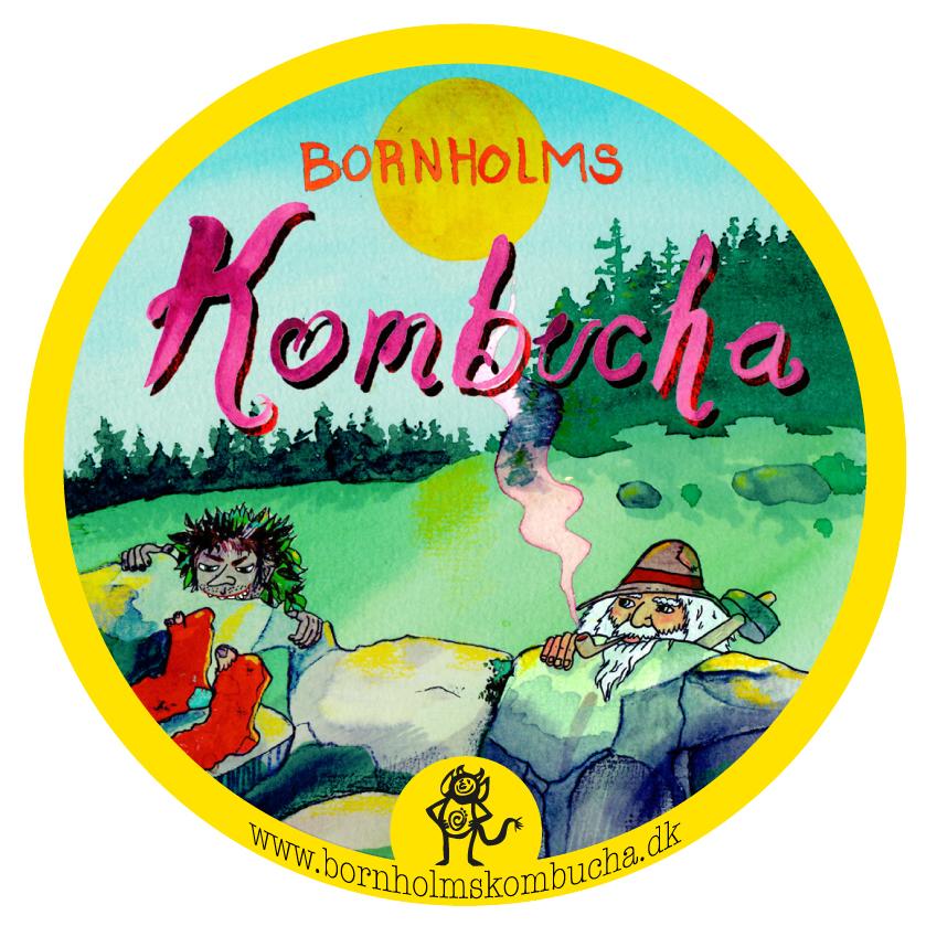 Bornholms kombucha, etikette, 60mm