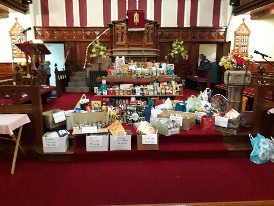 Donations for First Base Food Bank and Women's Aid at our 2019 Harvest Festival