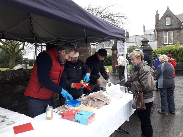 Pulled pork rolls for sale at the Christmas Festival