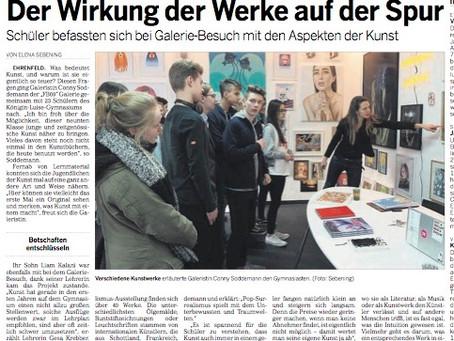 Artikel über den Galeriebesuch des Kunstkurses - Stufe 9 der Königin-Luisen-Schule Köln -  in der Kö