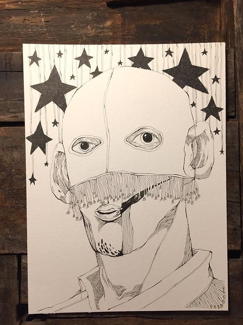 """Original Drawing """"Kleinstadt Träume schlafloser Nächte"""" by Philipp Wiebesiek"""
