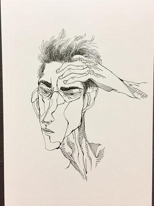 """Original Drawing """"Gedanke  #no4"""" by Philipp Wiebesiek"""