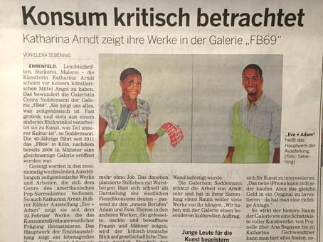 """Rezension unserer aktuellen Ausstellung """"Katharina Arndt - E V E + A D A M"""" in der Kölner Rundschau"""