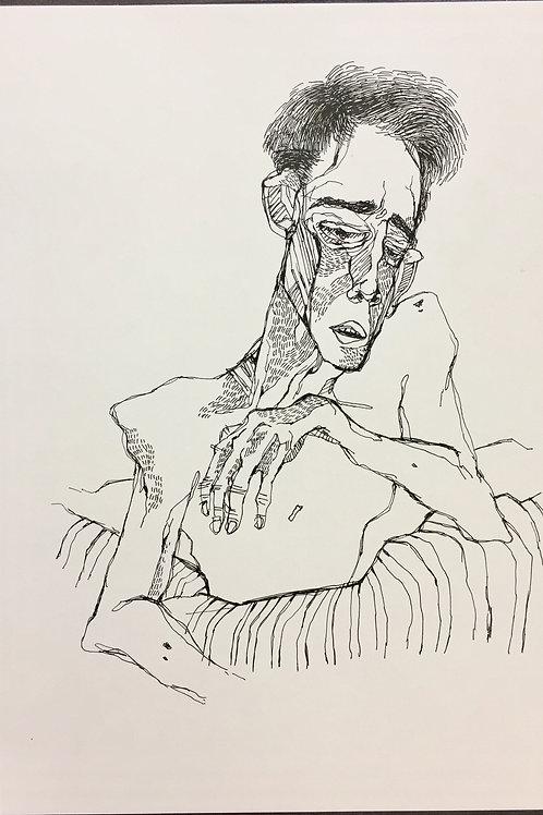 """Original Drawing """"Gedanke  #no3"""" by Philipp Wiebesiek"""