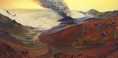 Visit-Haleakala-National-Park,-oil-on-canvas,-24x48-inches,-2015