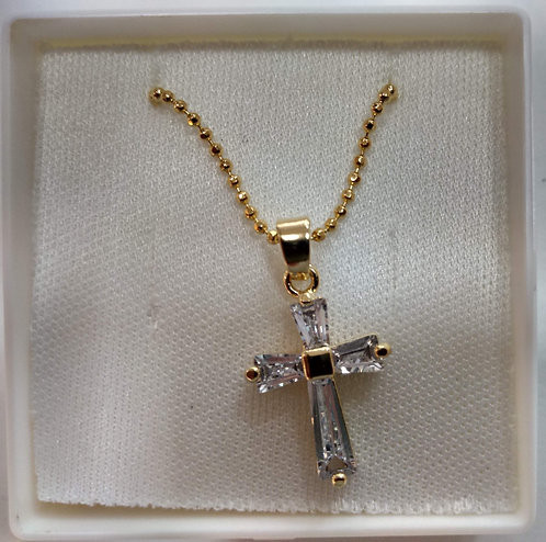 Crucifixo de pescoço dourado com pedras