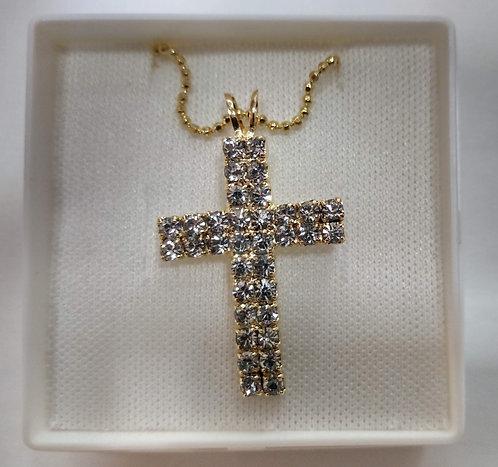 Crucifixo de pescoço dourado com strass