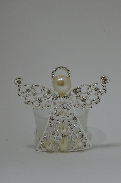 Castiçal de vidro com detalhes de metal e formato de anjo