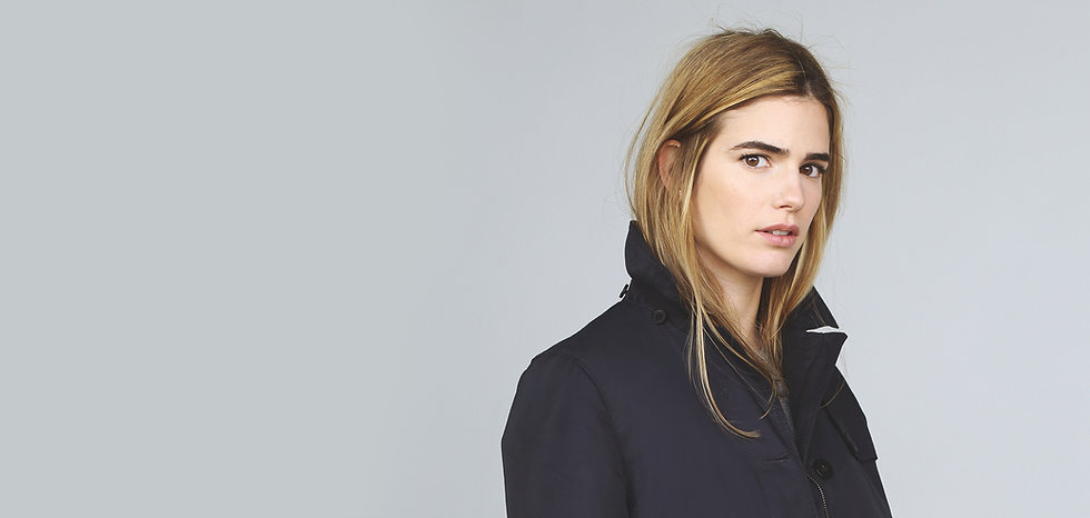 Model in Navy Coat