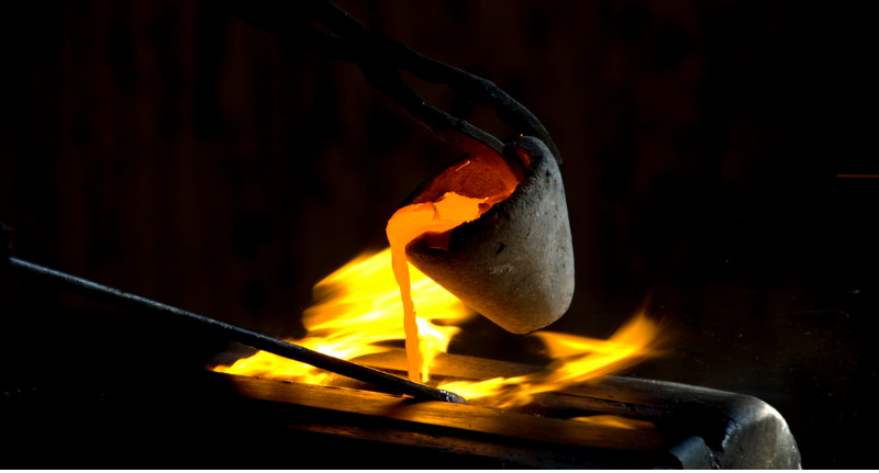 This is a picture of a crucible filled with molten silver