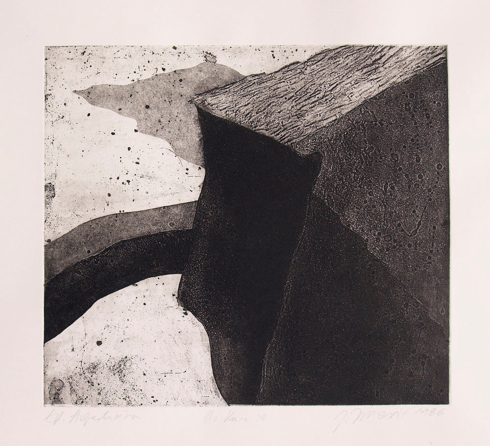 Josip Butkovic, By the Houses, 1986, etching, aquatint.