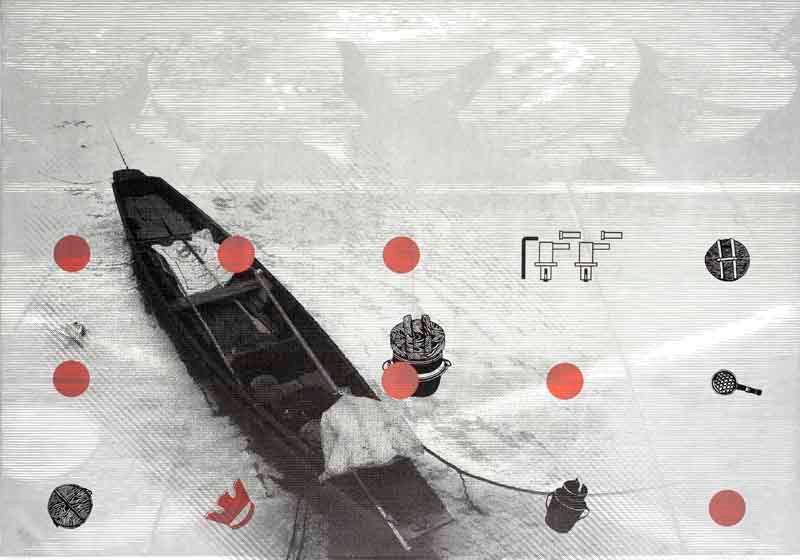 linocut with UV print by Wojtiech Tylbor-Kubrakiewicz, in Celebrating Print Magazine
