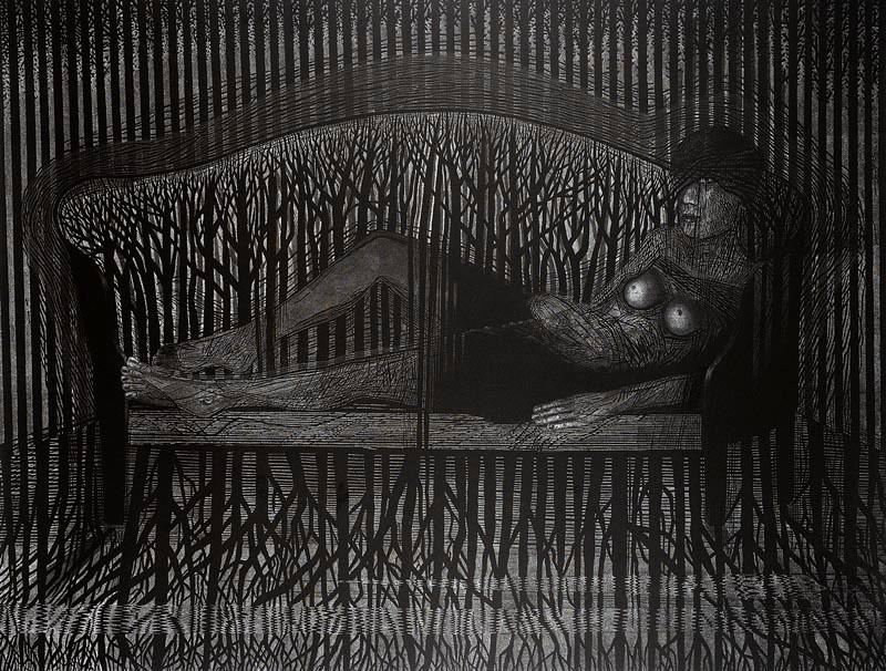 "linocut ""The Unbearable Lightness of Being"" by Joanna Piech-Kalarus, 2012, photograph by Piotr Oles."