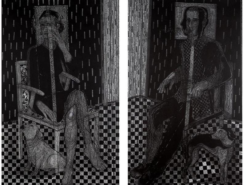 "linocut portraits ""In Between Words"" by Joanna Piech-Kalarus. Photographs by Piotr Oles."