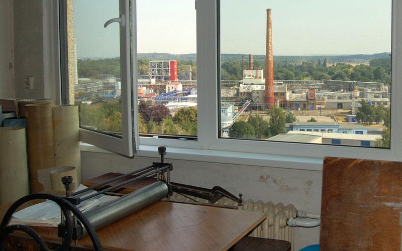 View from Vojtech Kovarik's studio in Kolin, Czech Republic.