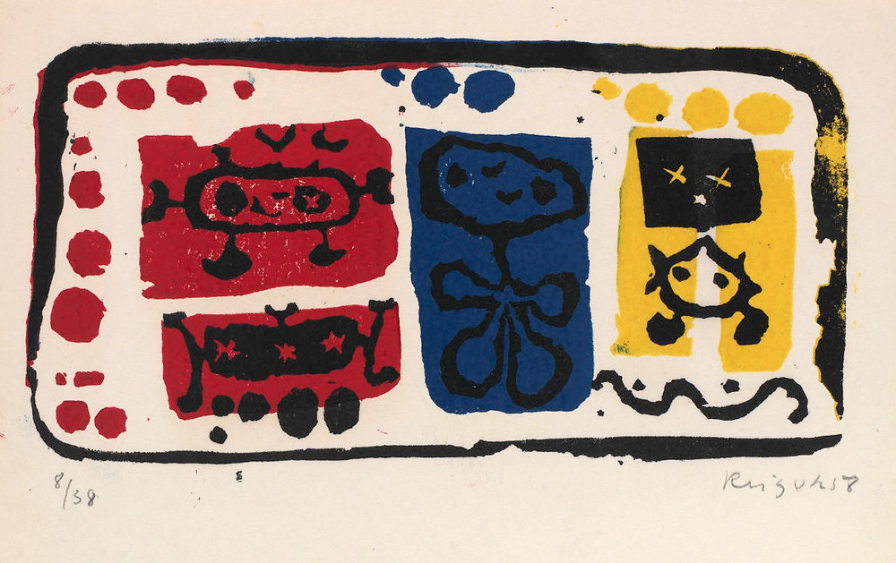 Jan Krizek, Untitled, 1958, color linocut