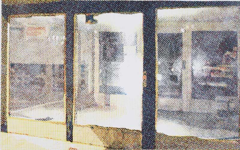Vojtech Kovarik, Entrance, 2006, multi-color linocut, 53 1/8 x 89 3/8 inches, photograph by the artist.