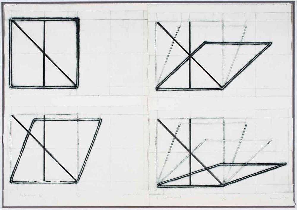 Dora Maurer, Displacements II, 1–4 (Action Graphic 14), 1974