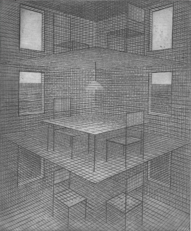 Marie Blabolilova, Three Floors, 1989, etching