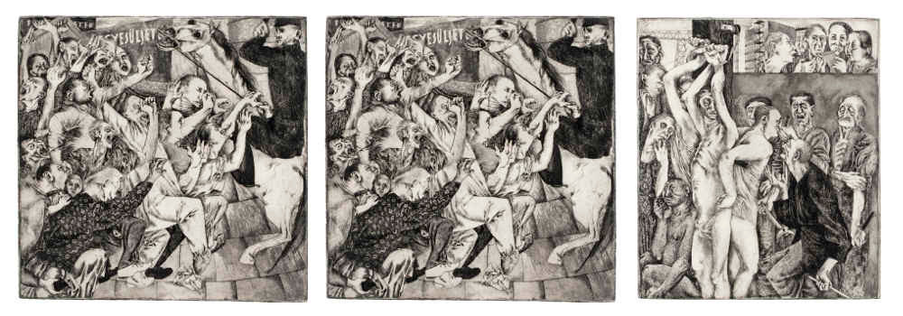 Dora Maurer, Workers' Movement Triptych (Conspiracy, Clash, Revenge), 1959, etching