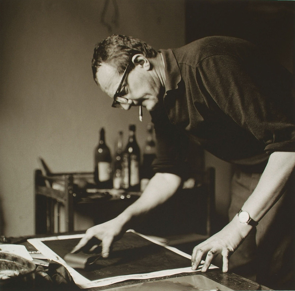 Czech artist Vladimir Boudnik in his Prague studio in 1967